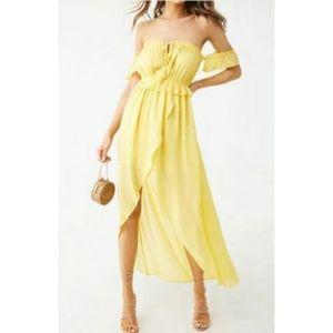 Yellow Off Shoulder High Low Maxi Dress 🔥